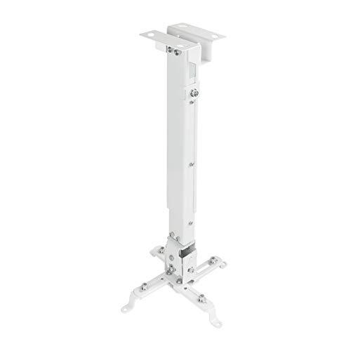 TooQ PJ2012T-W - Soporte de techo inclinable para proyector, ajustable 130 o 430 hasta 650mm, inclinacion +/- 15º, blanco