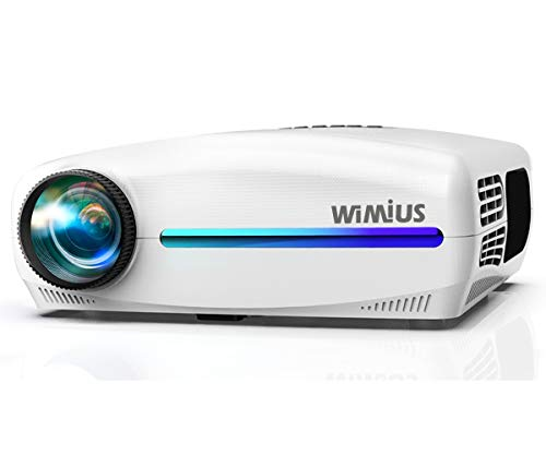 "Proyector, WiMiUS Video Proyector Full HD 1920x1080P Proyector de Cine en Casa, Soporta 4K Pantalla 300"" Ajuste Digital 4D de ±50° Sonido Estéreo Proyector LED 90,000H HDMI/USB/SD/GA/AV/PS4"