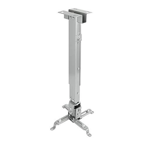 Tooq PJ2012T-S - Soporte de techo inclinable para proyector, hasta 20 Kg, ajustable entre 130mm y 650mm, inclinacion +/- 15º, color plata
