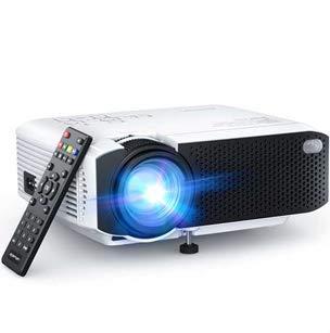 Proyector, APEMAN Mini Proyector Portátil en Casa, Soporte HD 1080P, 5000 Lúmenes, Pantalla Grande, Altavoces Duales, 50000 Horas Vida, Compatible con TV Stick, PS4 (Cable HDMI , RCA Incluido)