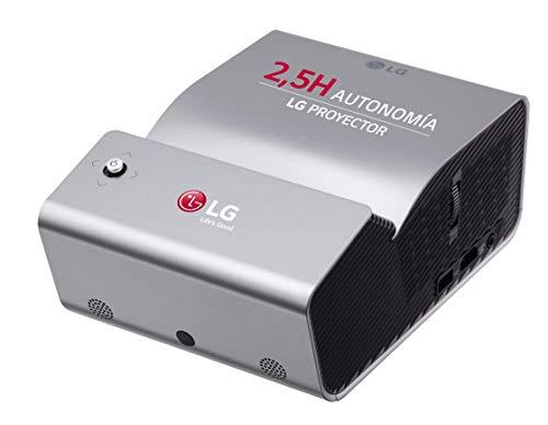 LG CineBeam PH450UG - Proyector con batería integrada de Tiro Corto (hasta  80', autonomía 2,5 Horas, Fuente LED, 450 lúmenes, 1280 x 720), Color Plateado