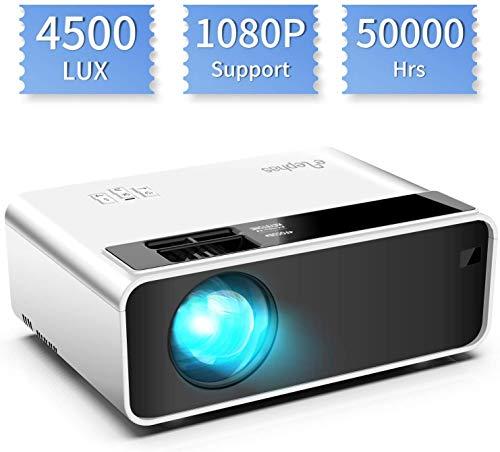 Elephas W13 - Proyector de Cine en casa portátil LED de Larga duración, 1080P Compatible, HDMI, VGA, TF, AV y USB (White)