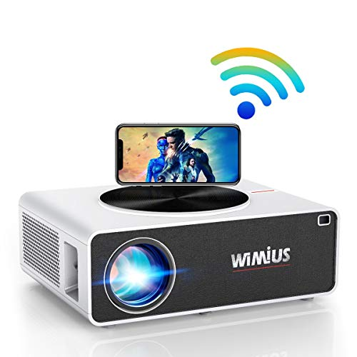 Proyector WiFi 1080P, 7500 Lúmenes WiMiUS Proyector WiFi Full HD 1920×1080P Soporta 4K Proyector WiFi Cine En Casa Proyector LED 100,000 Horas para Teléfonos,iPad,Fire TV Stick,PS4,PC HDMI USB VGA AV