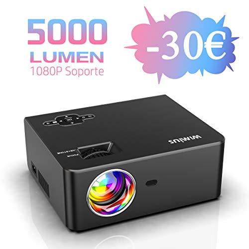 Wimius S2 - Proyector WiMiUS 5000 Lúmenes Soporta 1080P Audio Hi-Fi Pantalla de 200'' Mini LED 60.000 Horas