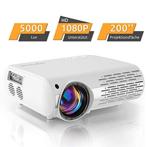 Crenova XPE660 - Proyector de Cine en casa HD de 6000 Lux (550 ANSI) soporta 1080P Full HD, conexión con televisores PS4, Xbox, HDMI, VGA, , Dispositivos AV y USB