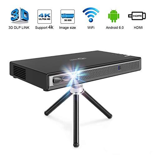 TOUMEI T5 Mini Proyector, Proyector Portatil WiFi 200 ANSI lúmenes, DLP Android con Home Cinema Bluetooth, Soporte 1080P 4K HDMI 3D DLP-Link, Compatible con Fire TV Stick / PS3 / PS4 - Negro