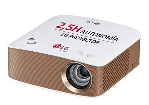 LG Cinebeam Ph150G - Proyector con Batería Integrada Hasta 100', Autonomía 2.5 Horas, Fuente Led, 130 Lúmenes, 1280 X 720, Color Blanco y Dorado