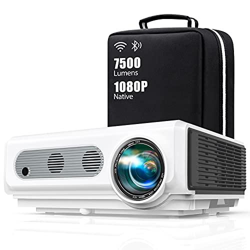 """Proyector WiFi Bluetooth Full HD 1080P, TOPTRO 7500 Lúmenes Proyector 1080P Soporta 4K y Función de Zoom, Pantalla 300"""" Contraste 10000:1 Proyector LED Cine en Casa para iPhone,Android,PC,"""