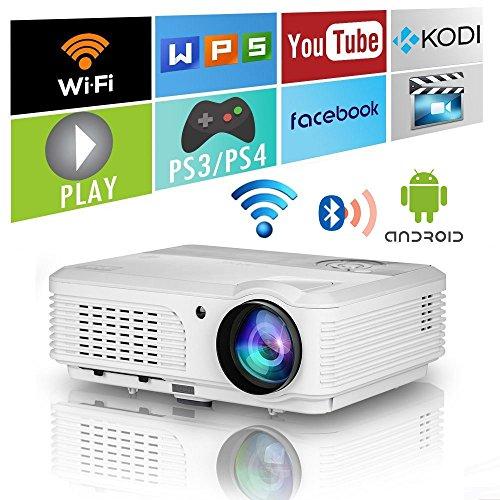 EUG PJX99+AB - Proyector de video HD LCD Bluetooth inalámbrico, Multimedia Proyector de cine en casa con wifi 2 HDMI 2 USB VGA Audio AV 1080P Airplay para iPhone iPad DVD TV PC Portátil XBOX PS4