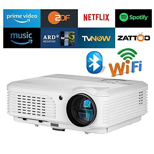 Home Wireless Bluetooth Proyector 4200 lúmenes HD HDMI WiFi Airplay para iPhone Mac iPad Laptop Smartphone Tablet PC DVD, Smart WXGA LED portátil Video proyectores LCD Juegos de películas