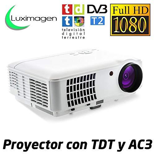 Proyector Full HD 1080P, LUXIMAGEN HD520 (2019 Nuevo), Proyector Maxima luminosidad Portátil LED Cine en casa 1920x1080 AC3 2 x HDMI TV TDT USB para PS4,Xbox,Switch,televisión TDT HD Integrado