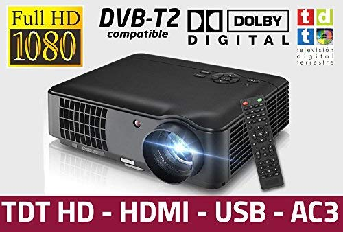 Proyector de Alta definicion FULLHD, Android, WiFi, TV TDT, AC3, LED, Compatible con PS4, Nintendo Switch, Xbox One (HD, con TDT)