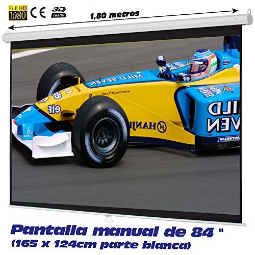 Luxscreen - Pantalla manual con 12 tamaños disponibles desde 72'' hasta 169''
