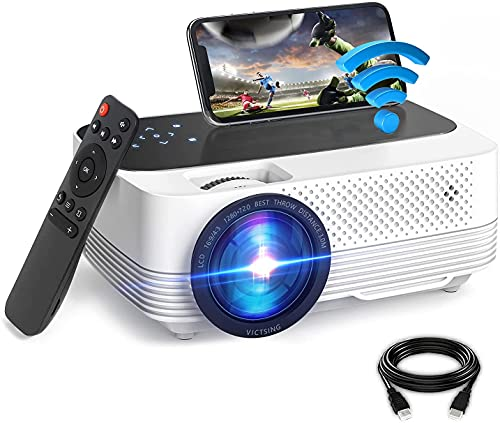 Proyector WiFi Bluetooth[con Pantalla Táctil], VictSing 6000 Lúmenes Mini Proyector Portátil Soporta Full HD 1080P,60000 Horas Proyector WiFi LED en Casa Android/iOS/TV Stick/HDMI/VGA/USB/TF/AV