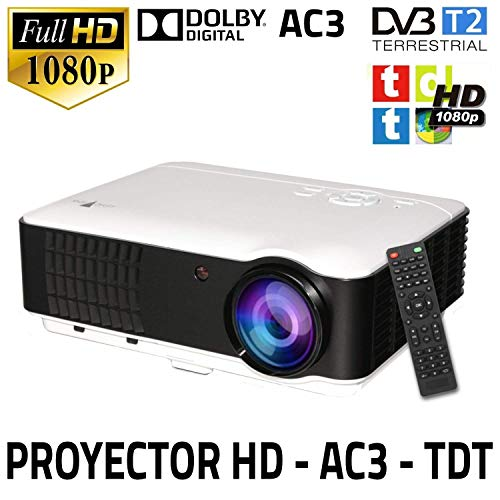 Proyector Unicview HD200, Video Proyector 1080P Full HD, con TDT, USB, HDMI, VGA, AC3, Sintonizador de TDT Incorporado, Compatible con PS4, Switch, Xbox One, PC