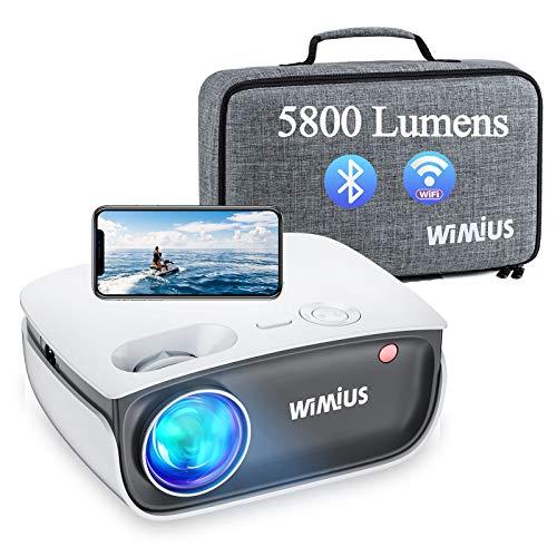 Wimius S25 - Proyector WiFi Bluetooth, WiMiUS 5800Lux Proyector Portátil Soporta 1080P Full HD, 80,000 Horas Proyector de Video para iPhone, Android, TV Stick, HDMI, AV, USB