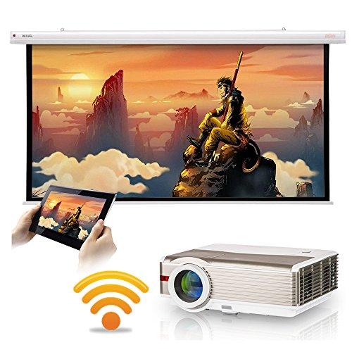 5000 lumen WXGA Android LCD Smart HD Proyector de video inalámbrico con WiFi, cine en casa LED Proyector de película al aire libre 1080P HDMI USB VGA AV Audio para iPhone iPad Mac TV DVD XBOX PS4 Wii