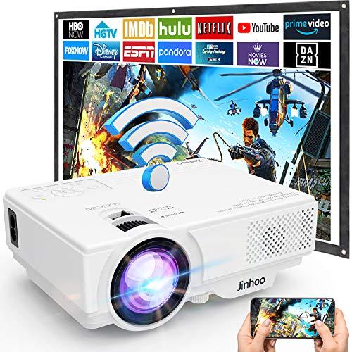 Proyector, Proyector Full HD 1080P, Proyector WiFi 6000 Lumens, Proyector Mini Compatible con TV Stick HDMI VGA USB TF AV, para Cine en Casa y Películas al Aire Libre.