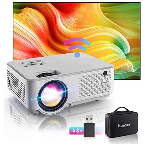 Bomaker Proyector WiFi 6000 Lúmenes Full HD 1080 Resolución Nativa 720P Inalámbrico Mini Cine en Casa Portátil, Pantalla de 300 Pulgadas, HDMI/USB/VGA/AV/Micro SD, GC355