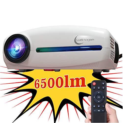 Proyector Full HD 1080P, Luximagen FUHD200 (Nuevo 2021) 6.500 lúmenes LED, Proyector Barato Maxima luminosidad Portátil LED Cine en casa AC3 HDMI USB MKV Sin Input Lag Corrección Horizontal (Negro)