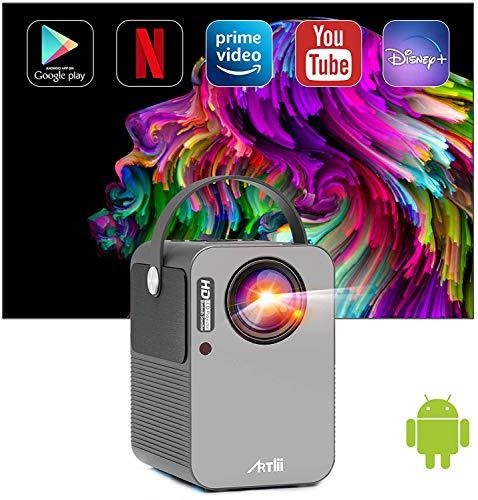 Proyector Android TV 9.0, Artlii Play Proyector Smart WiFi Bluetooth Portátil, Dolby AC3, Corrección Keystone 4D de ± 45 ° y Zoom, Cine en Casa de 200 '