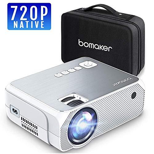 Bomaker GC555 - Resolución Nativa HD 720p 3.600 Lúmenes, Soporte Full HD 1080p, Mini Portátil con Estuche incluido, Pantalla de 250'', HDMI, VGA, AV, USB, SD