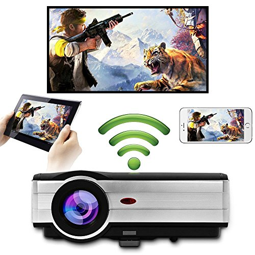 Proyector de video WiFi inalámbrico LED, WXGA HD LCD Proyectores inalámbricos Android con wifi 4200 lúmenes Soporte 1080p Smart Home Cinema HDMI/USB /VGA/AV/Audio Compatible con Android IOS TV DVD PS4