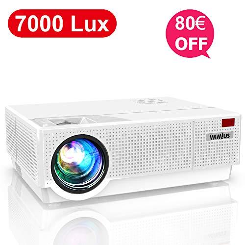 Wimius P28 - Proyector LED 7000 Lúmenes, Full HD 1920 x 1080P, cine en casa con soporte 4K, sonido Dolby