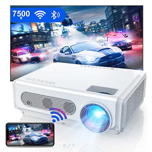 Proyector WiFi Bluetooth 1080P, WiMiUS 7500 Proyector Full HD 1920×1080P Proyector Nativo Soporte 4K y Función de Zoom WiFi Proyector Cine en Casa Proyector de Vídeo para iOS/Android/TV Stick/PS4/PC