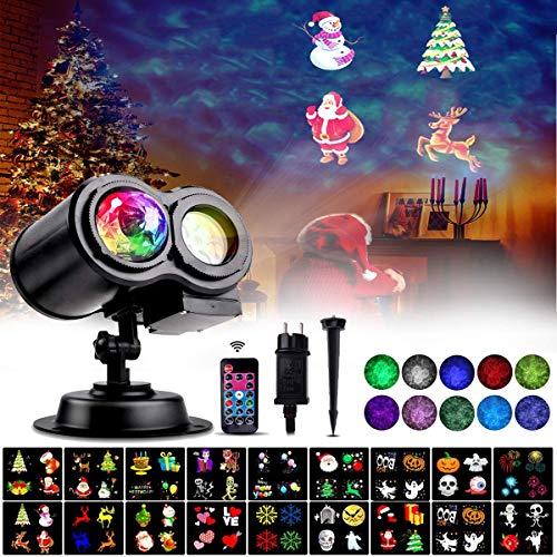 Luces de Proyector de Navidad, LED Lámpara Ola del Océano Iluminación Exterior Interior Control Remoto Impermeable,18 Diapositivas de Patrón Decoración para Fiesta,Navidad,Halloween,Festivos