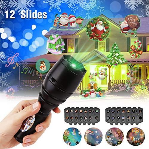 Linternas Proyección para niños con Música, Luces Proyector con Tiene 12 Cambios de Motivos y Trae Un Trípode ,Lámpara Proyector de Fiestas en Hogar, Cumpleaños, Navidad, Halloween